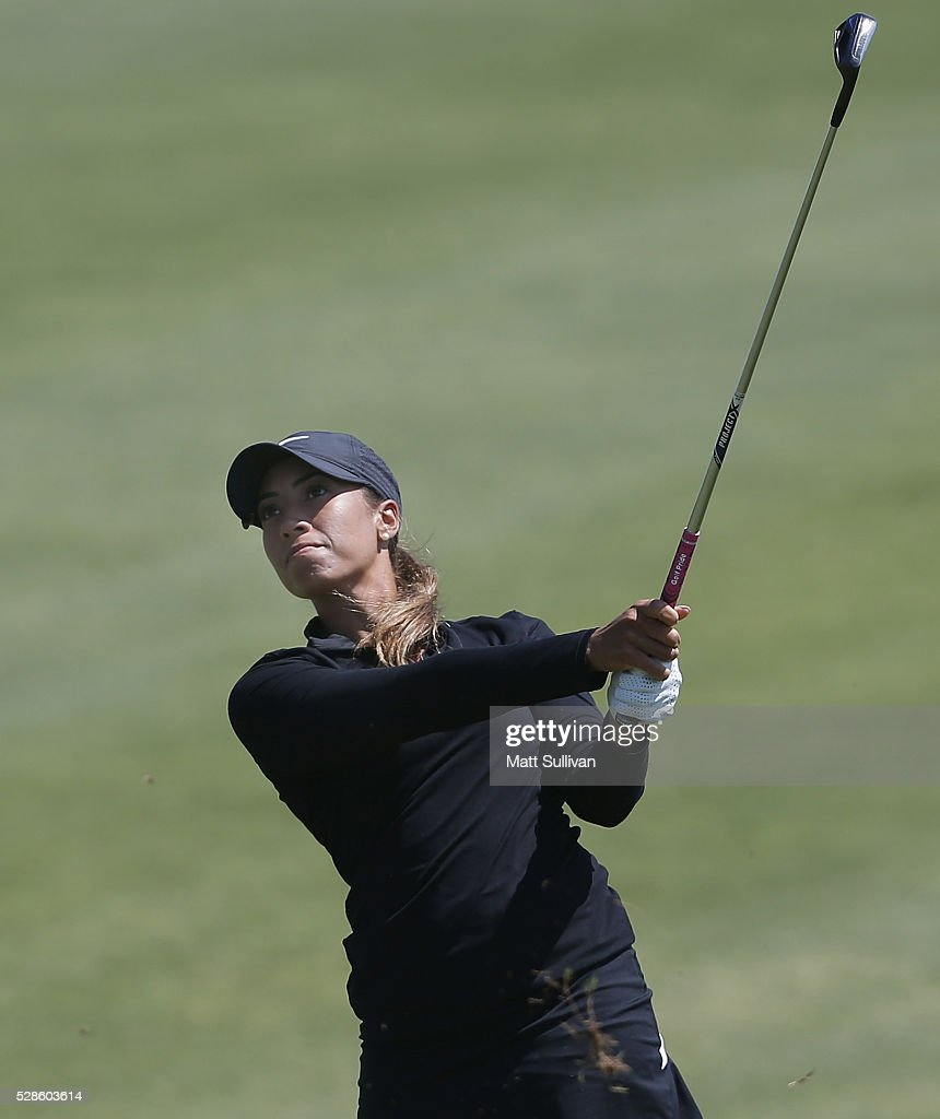 Cheyenne Woods watches her second shot on the ninth hole during the second round of the Yokohama Tire Classic on May 06, 2016 in Prattville, Alabama.