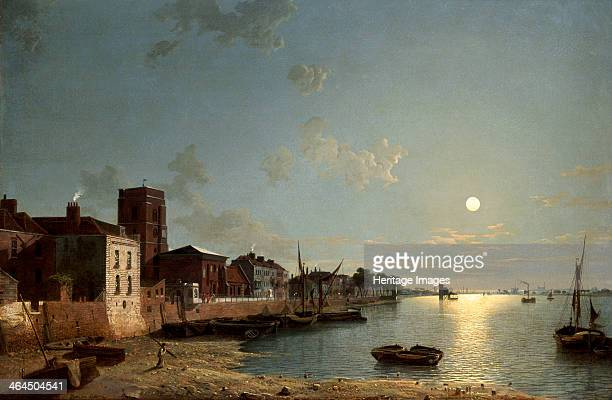 'Cheyne Walk in Chelsea by Moonlight' c1850 A full moon shines over the River Thames with boats at low tide On the left is Chelsea Old Church with...