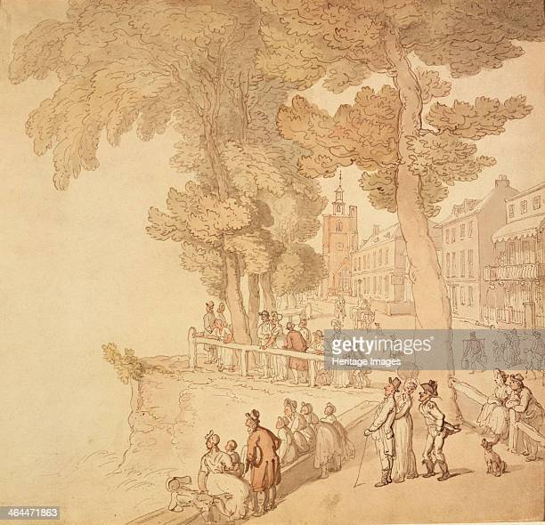 Cheyne Walk London c late 18thearly 19th century People strolling by the banks of the River Thames in the distance is Chelsea Old Church