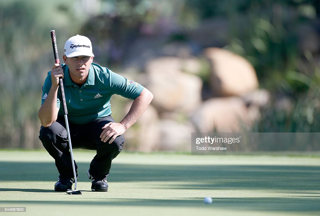 Chez Reavie lines up a putt on the seventh green during the second round of the Barracuda Championship at the Montreux Golf and Country Club on July 1, 2016 in Reno, Nevada.