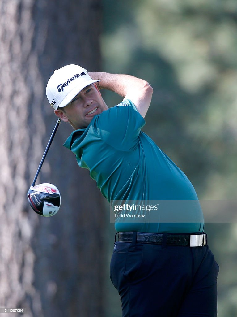 Chez Reavie plays his shot from the eighth tee during the second round of the Barracuda Championship at the Montreux Golf and Country Club on July 1, 2016 in Reno, Nevada.