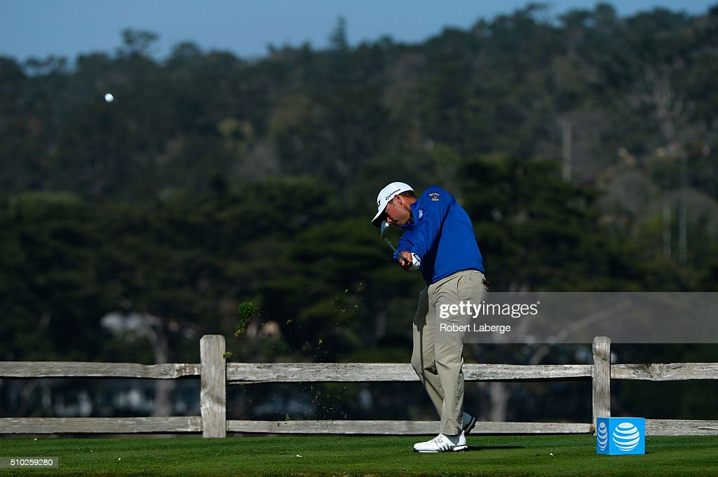 Chez Reavie plays his tee shot on the seventh hole during the final round of the AT&T Pebble Beach National Pro-Am at the Pebble Beach Golf Links on February 14, 2016 in Pebble Beach, California.