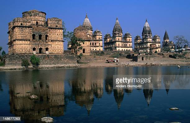 Chhatris (cenotaphs) of Orchha's rulers by Betwa river.