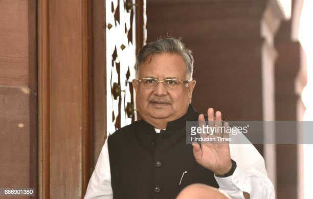 Chhattisgarh Chief Minister Raman Singh at Parliament during the second leg of Budget Session on April 10 2017 in New Delhi India The Lok Sabha...