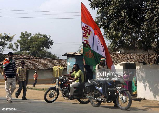 Chhattisgarh Elections Congress workers campaigning in Kanker 150 kilometers south of capital Raipur