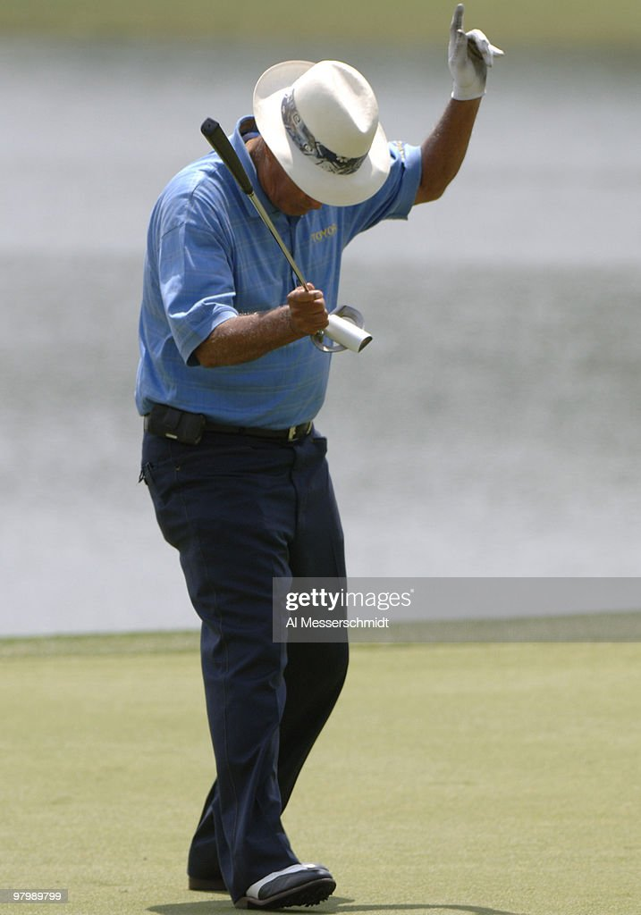 Chi Chi Rodriguez celebrates a birdie putt on the ninth green during the Regions Charity Classic Charter Communications Pro-Am at Robert Trent Jones Golf Trail at Ross Bridge in Birmingham Alabama on May 3, 2006.