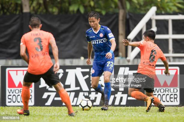 Chi Lun Yeung of BC Rangers fights for the ball with Tomas Moronesi of Sun Bus Yeun Long and Chun Ting Law of Sun Bus Yeun Long during the Hong Kong...