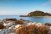 Chia, beach, coastline and tower