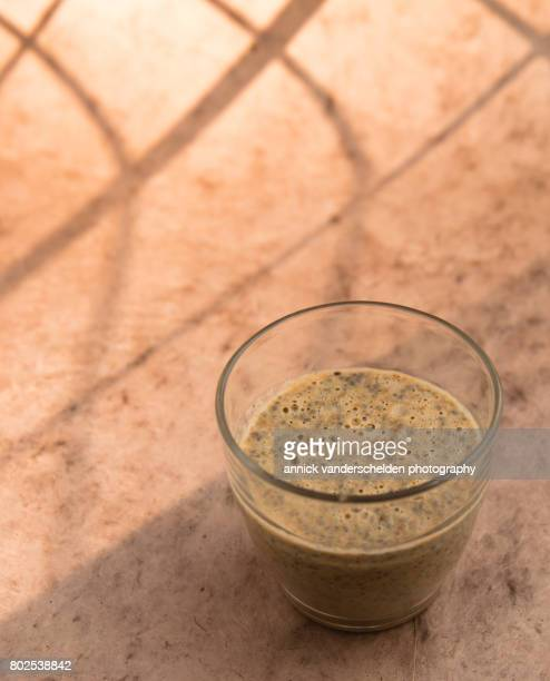 Chia pudding in a serving glass.