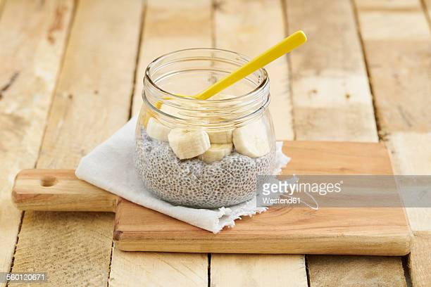 Chia pudding made of chia seeds with almond milk and bananas