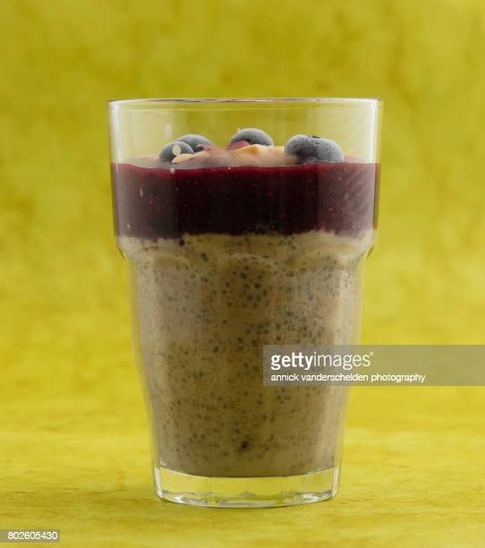 Chia pudding with blueberry compote.