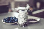 Chia seed, pudding, blueberries, breakfast, healthy snack, health food, healthy lifestyle, dessert, sweet food,