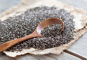 Chia seeds with a spoon close up