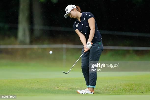 Chiaki Ishiyama of Japan hits an approach on the 9th hole during the final round of the Yupiteru The Shizuoka Shimbun SBS Ladies at the Shizuoka...
