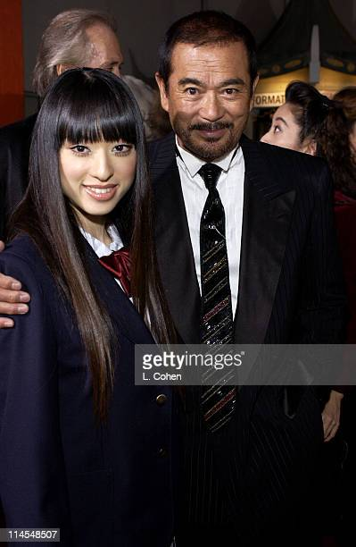 Chiaki Kuriyama and Sonny Chiba during 'Kill Bill Vol 1' Premiere Red Carpet at Grauman's Chinese Theater in Hollywood California United States