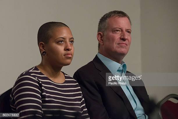 Chiara and her father Bill de Blasio listen as Al Sharpton speaks New York City Mayor Bill de Blasio and his daughter Chiara joined Reverend Al...