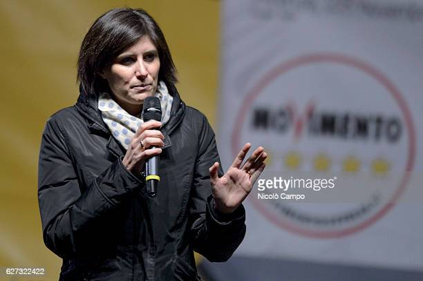 Chiara Appendino mayor of Turin speaks during a demonstration to support the 'No' to the constitutional referendum Italians will be called on...