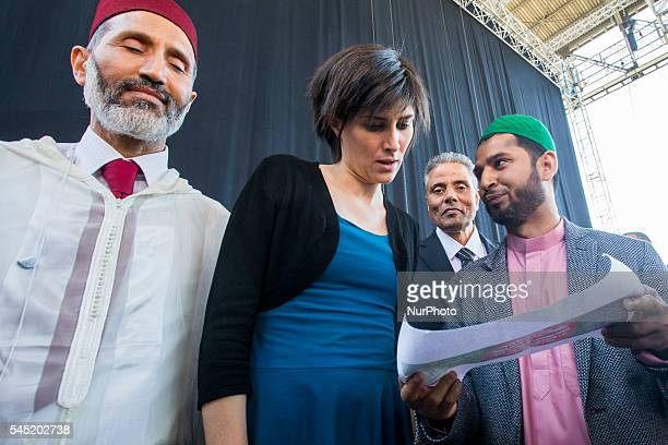 Chiara Appendino the new mayor of Turin participates to muslim celebration that marks the end of the holy month of Ramadan in Torino italy on 6 July...