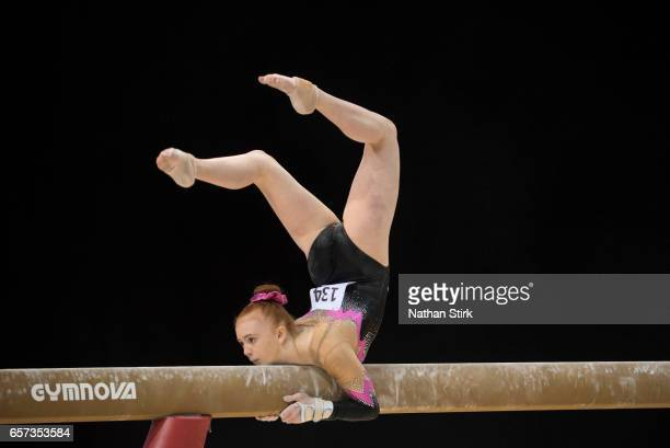 Chiara Bunce of Heathrow Gym Club competes on the beam during the British Gymnastics Championships at the Echo Arena on March 24 2017 in Liverpool...