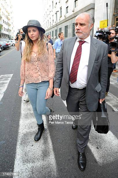 Chiara Danese and her lawyer Stefano Castrale leave from the courthouse after the verdicts in the 'Ruby bis' case on July 19 2013 in Milan Italy...