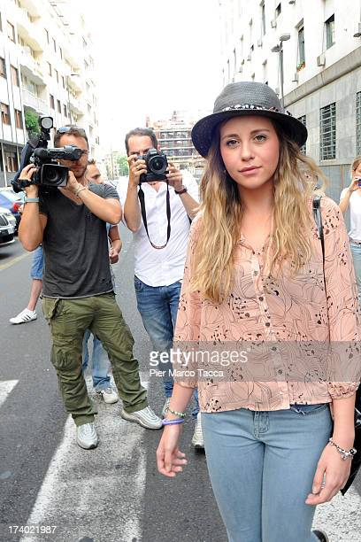 Chiara Danese leaves the courthouse after the verdicts in the 'Ruby bis' case on July 19 2013 in Milan Italy Nicole Minetti Emilio Fede and Lele Mora...