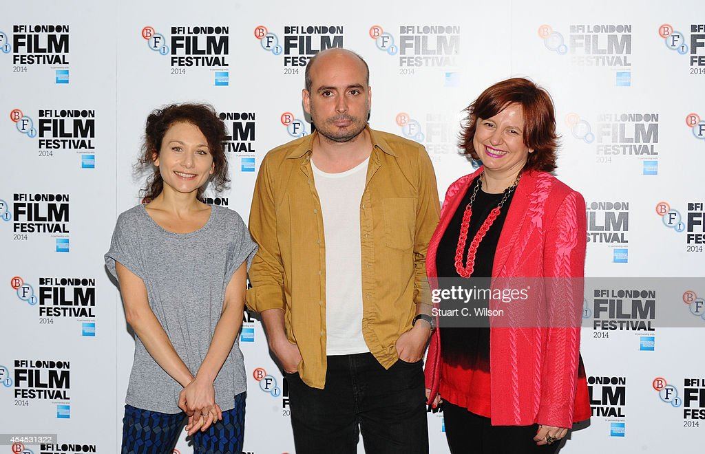Chiara D'Anna, Peter Strickland and Clare Stewart attend the BFI London Film Festival press launch at Odeon Leicester Square on September 3, 2014 in London, England.