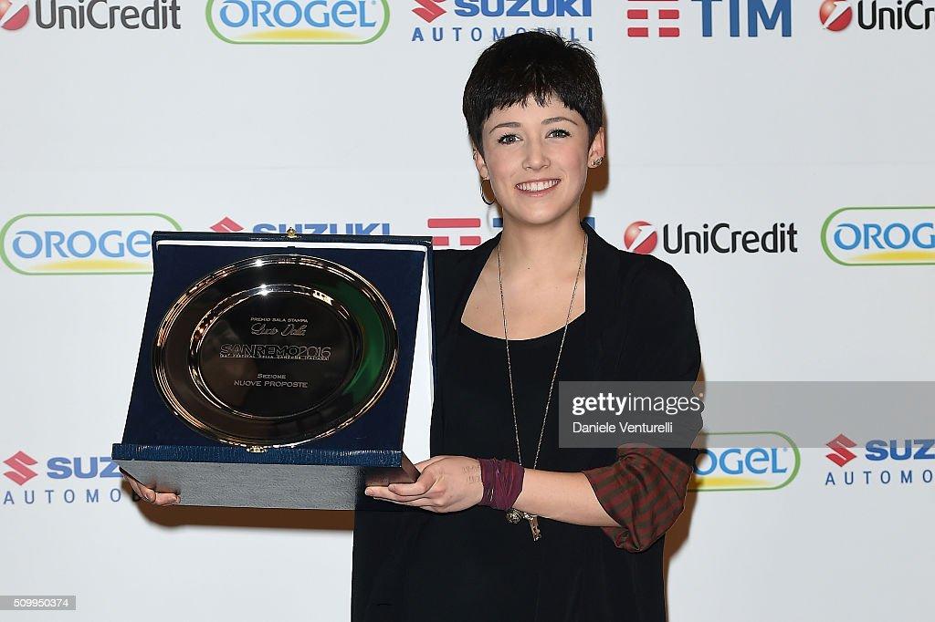 Chiara Dello Iacovo attends a photocall at 66. Sanremo Festival on February 13, 2016 in Sanremo, Italy.