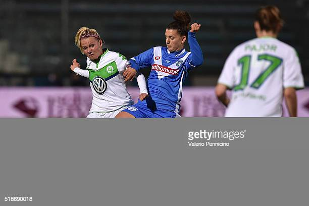 Chiara Eusebio of Wolfsburg competes with Julia Simic of Brescia during the UEFA Women's Champions League Quarter Final match between Brescia and...