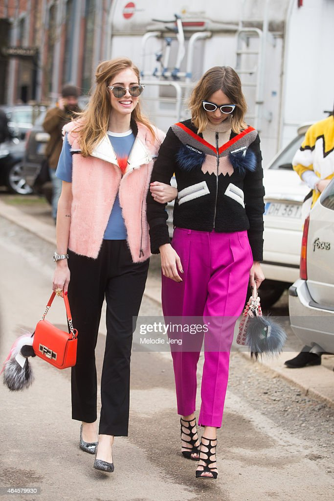 Chiara Ferragni and Candela November enter the Fendi show in Fendi on February 26 2015 in Milan Italy