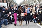 Chiara Ferragni Anna Dello Russo and Candela Novembre arrives at Fendi show during the Milan Fashion Week Autumn/Winter 2015 on February 26 2015 in...