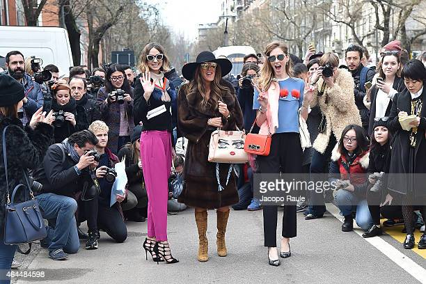 Chiara Ferragni Anna Dello Russo and Candela Novembre arrives at Fendi show during the Milan Fashion Week Autumn/Winter 2015 on February 26 2015 in...