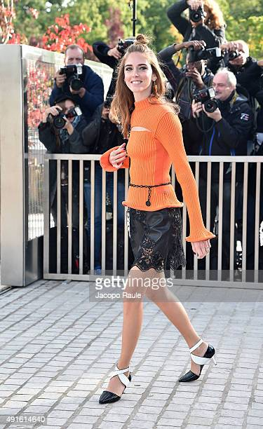 Chiara Ferragni arrives at the Louis Vuitton Fashion Show during the Paris Fashion Week S/S 2016 Day Nine on October 7 2015 in Paris France