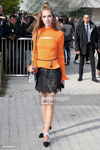 Chiara Ferragni arrives at the Louis Vuitton show as part of the Paris Fashion Week Womenswear Spring/Summer 2016 on October 7 2015 in Paris France