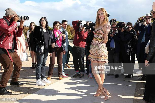 Chiara Ferragni arrives at the Valentino show as part of the Paris Fashion Week Womenswear Spring/Summer 2016 on October 6 2015 in Paris France