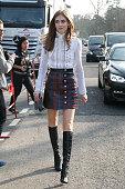 Chiara Ferragni arrives to attend the 'Louis Vuitton' fashion show during the Paris Fashion Week Fall Winter 2015/2016 on March 11 2015 in Paris...