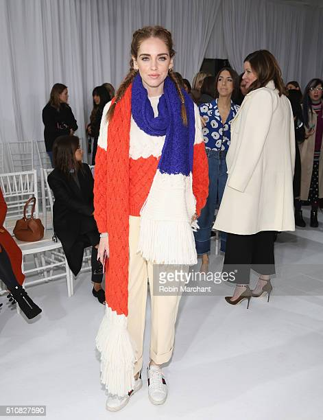 Chiara Ferragni attends Delpozo during Fall 2016 New York Fashion Week at Pier 59 Studios on February 17 2016 in New York City