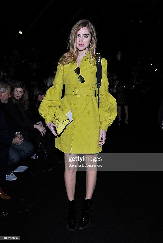 <a gi-track='captionPersonalityLinkClicked' href=/galleries/search?phrase=Chiara+Ferragni&family=editorial&specificpeople=6755910 ng-click='$event.stopPropagation()'>Chiara Ferragni</a> attends the Alberta Ferretti fashion show during Milan Fashion Week Womenswear Fall/Winter 2013/14 on February 20, 2013 in Milan, Italy.