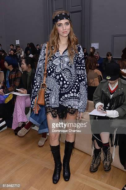 Chiara Ferragni attends the Chloe show as part of the Paris Fashion Week Womenswear Fall/Winter 2016/2017 on March 3 2016 in Paris France