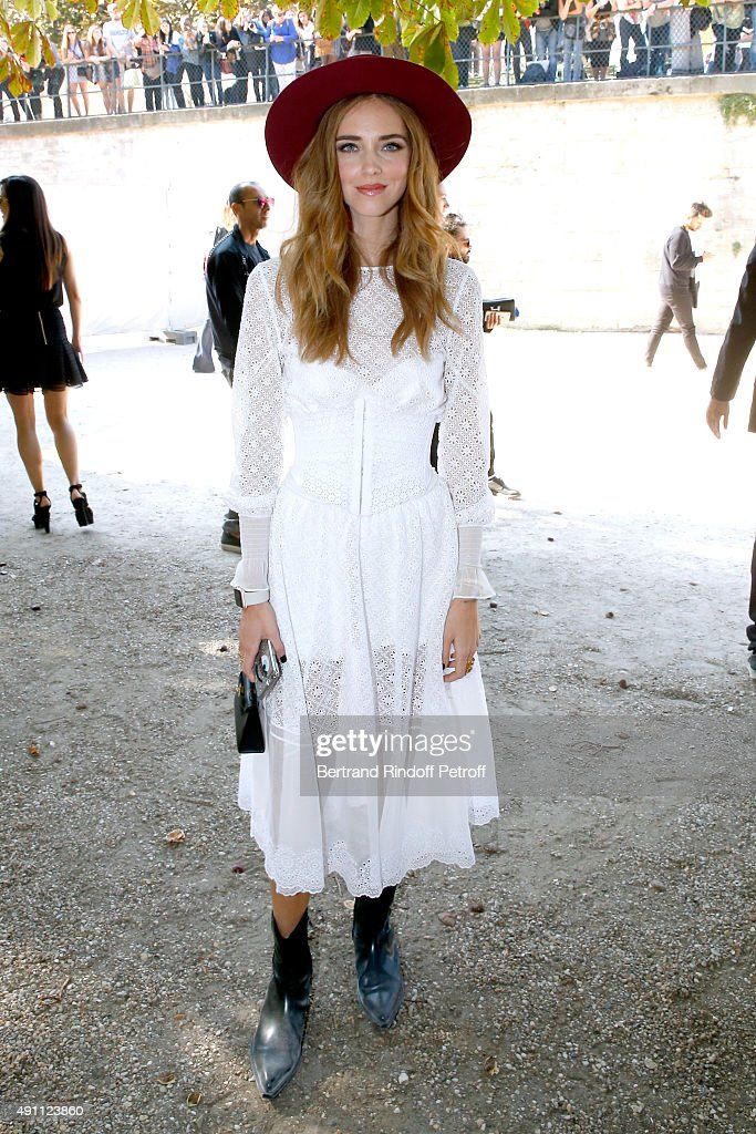 Chiara Ferragni attends the Elie Saab show as part of the Paris Fashion Week Womenswear Spring/Summer 2016 on October 3 2015 in Paris France