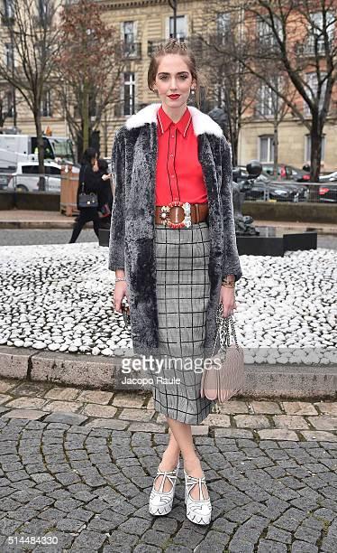 Chiara Ferragni attends the Miu Miu show as part of the Paris Fashion Week Womenswear Fall Winter 2016/2017 on March 9 2016 in Paris France
