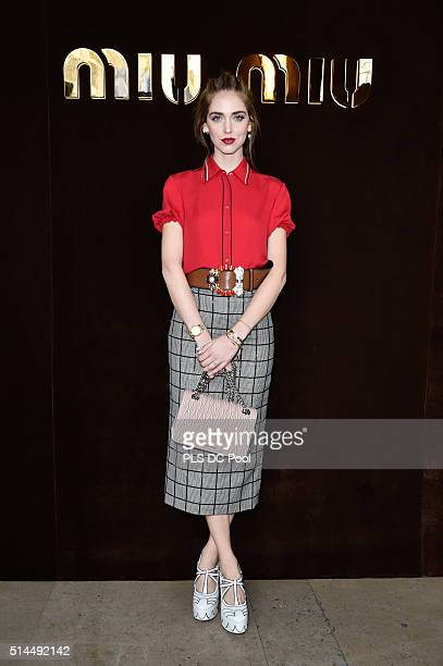 Chiara Ferragni attends the Miu Miu show as part of the Paris Fashion Week Womenswear Fall / Winter 2016 on March 9 2016 in Paris France