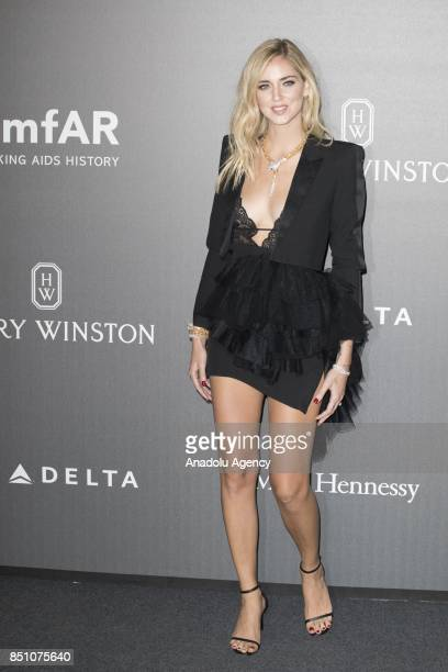Chiara Ferragni attends the red carpet of amfAR Gala Milan at La Permanente in Milano Italy on September 2017