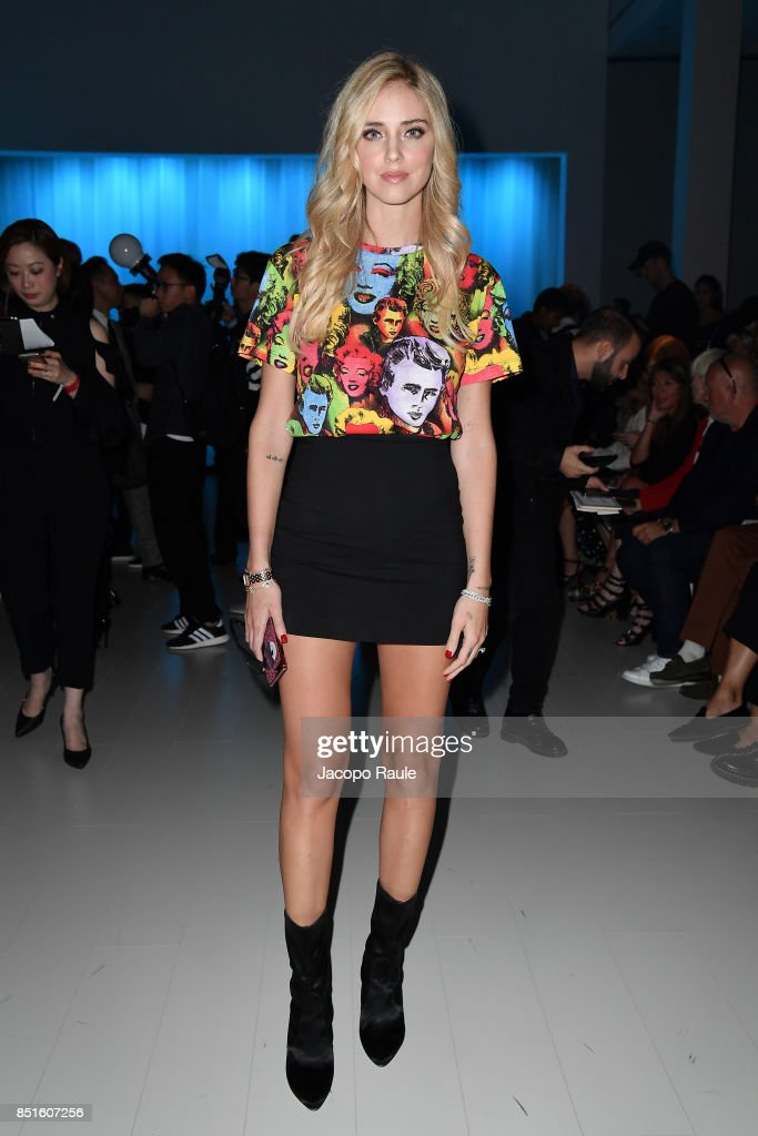 Chiara Ferragni attends the Versace show during Milan Fashion Week Spring/Summer 2018 on September 22, 2017 in Milan, Italy.