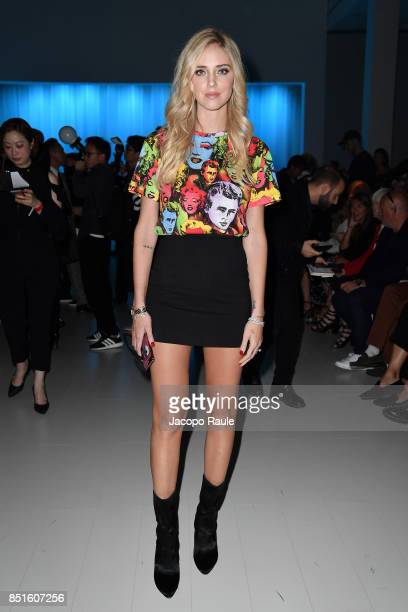 Chiara Ferragni attends the Versace show during Milan Fashion Week Spring/Summer 2018 on September 22 2017 in Milan Italy