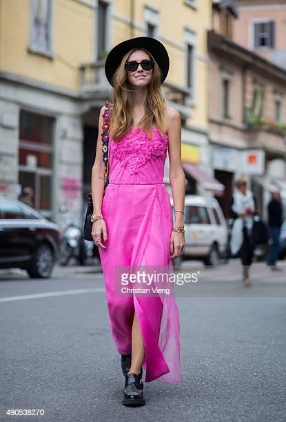 Chiara Ferragni during Milan Fashion Week Spring/Summer 16 on September 28 2015 in Milan Italy