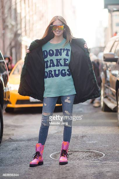 Chiara Ferragni enters the Jeremy Scott show in Jeremy Scott on the streets of Manhattan on February 18 2015 in New York City