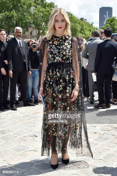 Chiara Ferragni is seen arriving at the 'Christian Dior' show during Paris Fashion Week Haute Couture Fall/Winter 20172018 on July 3 2017 in Paris...