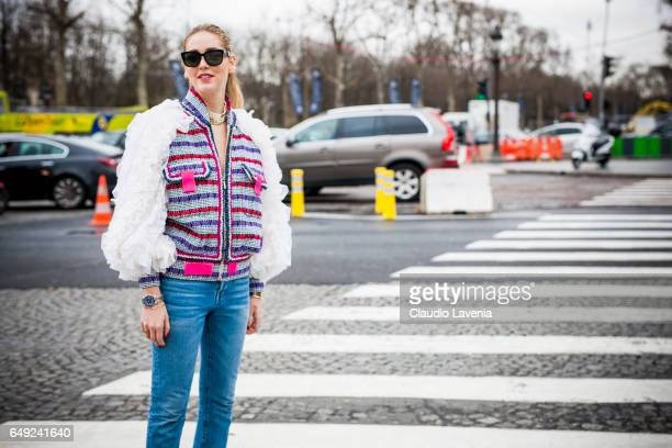 Chiara Ferragni is seen before the Chanel show at the Grand Palais during Paris Fashion Week Womenswear Fall/Winter 2017/2018 on March 7 2017 in...
