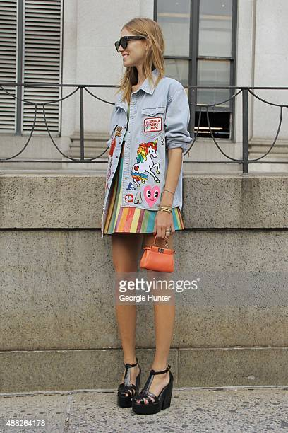 Chiara Ferragni is seen on the streets of Manhattan outside of the Jeremy Scott Spring 2016 fashion show at Skylight at Moynihan Station wearing...