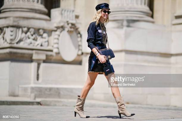 Chiara Ferragni is seen outside the Chanel show during Paris Fashion Week Haute Couture Fall/Winter 20172018 on July 4 2017 in Paris France